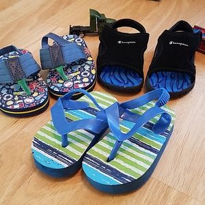 3 pairs Boys Sandals sizes 4 + 5
